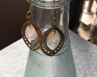 Recycled vintage brass drop earrings