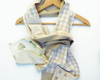 beige polka dots flowers pattern creator unique woman scarf