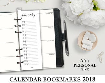 Printable CALENDAR BOOKMARKS 2018 for your A5 and Personal Planner_Monthly Bookmarks_Filofax Personal Refill Month