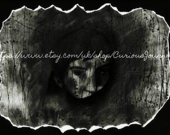 Barnabas Collins unique original portrait. Mixed media on paper. Vampire art.