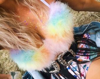 Unicorn pastel fluffy bra