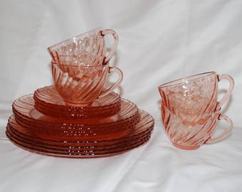 "Vintage Arcoroc France Pink Swirl ""Rosaline"" Dishes"