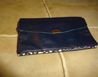 Rare Vintage NAVY BLUE Leather BUXTON Clutch Organizer Wallet