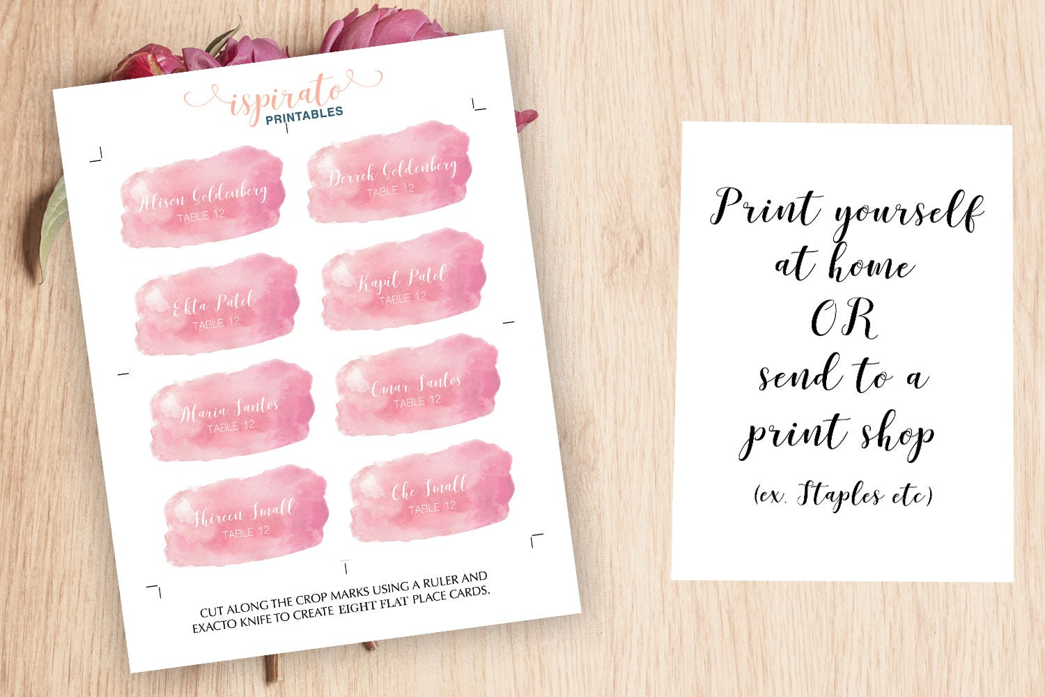 Watercolor Place Cards Pink Wedding Place Card Printable Place - Staples place cards template