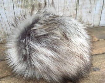 Faux Fur Pom Poms in Siberian Husky
