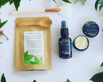 Facial care gift pack. Organic products. Face mask. Organic Under Eye Cream. Organic Face Mist.