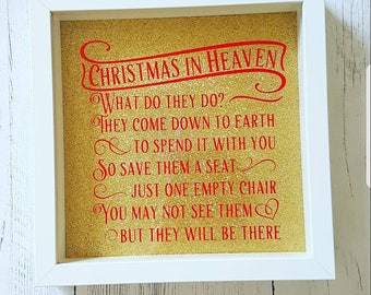 Christmas in heaven box frame, memorial gift,remembering a loved one, wedding decoration,sympathy gift, bereavement gift, in loving memory