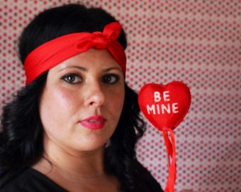 Red stretch topknot headband