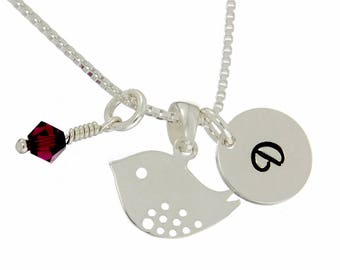 Bird Sterling Silver Personalized Pendant W Swarovski Birthstone Crystal Initial Custom Letter Disc Birdie Necklace Box Chain