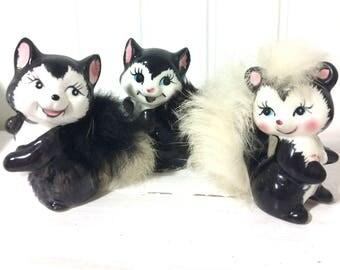 Lot of 3 Vintage Kitschy Furry Skunks