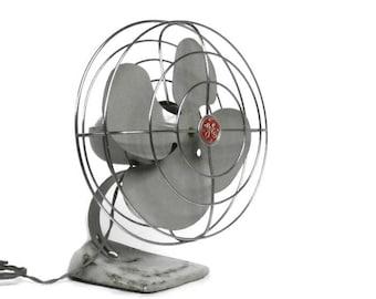 Vintage Oscillating GE Fan |  Industrial Gray General Electric Fan | Art Deco Retro Style Fan |  Grey GE Cat No. F12S107 Working Desk Fan