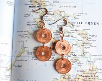 Philippines coin earrings - 3 different designs - made of coins - souvenir - memorie