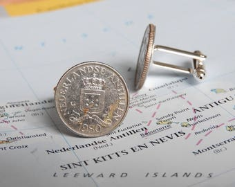 Aruba coin cuff links - made of original coins from the Kingdom of the Netherlands and the Lesser Antilles - Bonaire - Curacao