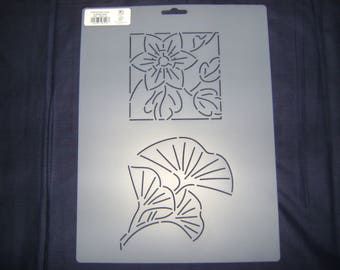 Sashiko Japanese Quilting/Embroidery Stencil 4 in. Flower and 6 in. Ginkgo Leaves Motif Block/Quilting