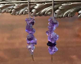 Sterling Silver and Amethyst Earrings, Sterling Silver Threader, Amethyst, Threader Earrings