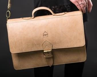 "Cream Leather Satchel Laptop Bag with Strap ""The Casablanca"" Handmade Moroccan"