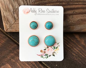 12mm rose gold and turquoise mommy and me stud set, druzy studs, druzy earrings, turquoise and copper, turquoise stud earrings
