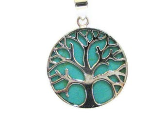 Turquoise pendant necklace, Sterling Silver Pendant, Unique Turquoise Pendant, Judaica Jewelry, Two Double Sides Tree Of Life Pendant, 925