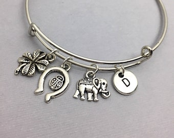 Cousin Gift, Bangle with Lucky Charms,Custom Bangle, Charm Bangle, personalized, customized, initial, monogram, Gift for Cousin, best friend