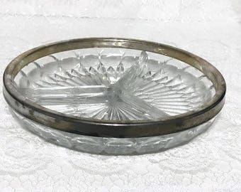 Vintage Divided Glass Dish with Silver Plate Rim