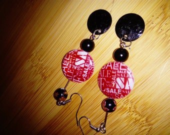Red and black dangle earrings