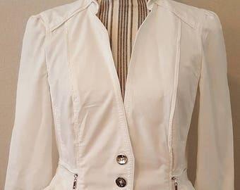 ON SALE Vintage White Ruffle Jacket
