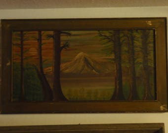 Vintage / Antique oil folk art painting of Mt. Hood, Oregon