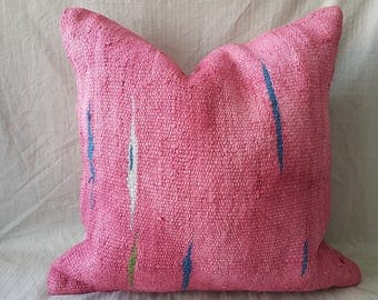 "Kilim Pillow,24""×24""İnches, Pink Pillow, Hemp Kilim Pillow, Cushion Cover, Throw Pillow, Kilim Pillow, Kilim Cushion, Decorative Pillow"