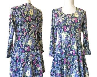 90s Floral Knit Cotton Dress — S/M