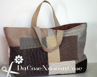 Shopper patchwork beige and Brown