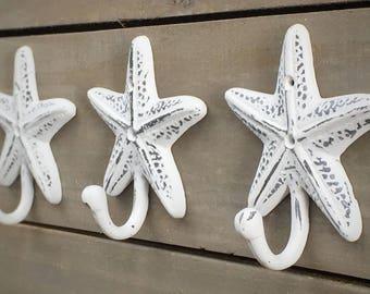 Large Starfish Hooks Shabby Chic Seaside Cottage Beach Nautical Wall Hook