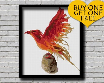 Cross Stitch Pattern Phoenix Bird Animal Pattern Modern Home Decor Firebird E Pattern Mythological Animal Mythical Creature
