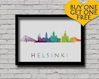 Cross Stitch Pattern Helsinki Finland Silhouette Watercolor Painting Effect Europe Cities Modern Design Embroidery City Skyline Xstitch