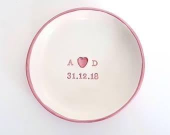Personalised wedding Ring dish, initials, ring bowl, ring cushion, wedding gift, ring bearer, wedding day gifts, wedding day, rose gold
