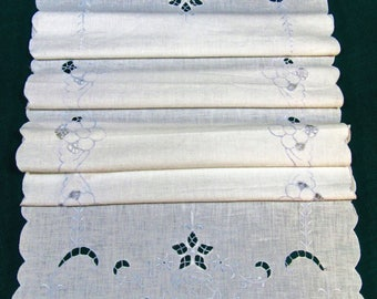 Vintage White Cotton Runner with Madeira Embroidery and Cutwork/ Dresser Scarf/ Table Topper