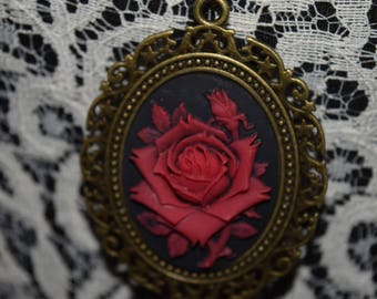 Red Flower Cameo Necklace