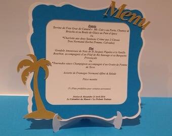 Lot de 5 menus - Blanc, doré et turquoise - Thème : Voyage , palmier