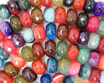 """12mm faceted multicolor agate rondelle beads 15"""" strand 38333"""