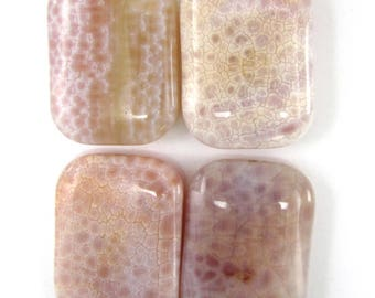 30mm pink crab fire agate rectangle pendant bead 35267