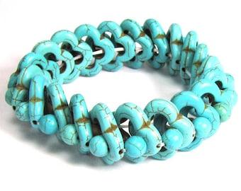 "20mm blue turquoise stretch bracelet 8"" S1 11938"