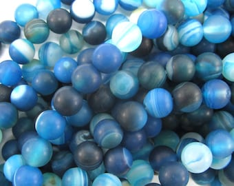 "6mm blue frost stripe agate round beads 15"" strand 34468"
