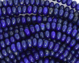 "6mm blue lapis lazuli rondelle beads 15.5"" strand 35495"