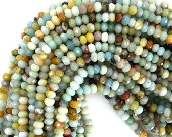 "6mm faceted amazonite rondelle beads 15.5"" strand 39288"