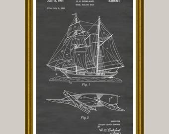Sailing Ship Poster, Sailboat Patent, Sailboat Poster, Sailboat Print, Sailing Art, Nautical Decor, Sailor Gift, Sailboat Decor P167