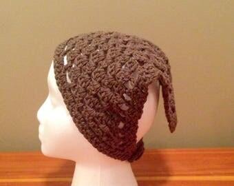 Crochet Kerchief, Hair Bandana, Brown with button closure