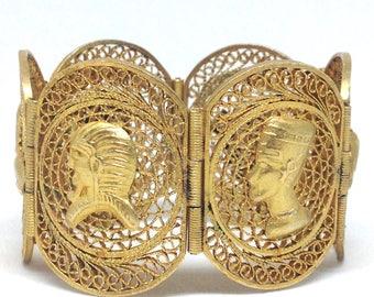 Vintage Estate  Egyptian Revival Gorgeous Gold Tone Bracelet