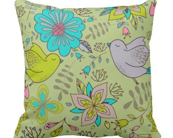 """Boho Pattern """"Birds and Flowers"""" Throw Pillow"""