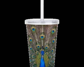 "Acrylic Double Wall Tumbler ""Peacock Splendor"""