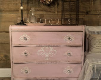 Custom Order Antique Dresser Shabby Chic Distressed Pink Coral
