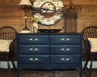 Navy blue & teal antique French provincial dresser, shabby chic painted gustavian dresser, painted furniture, change table dresser, entryway